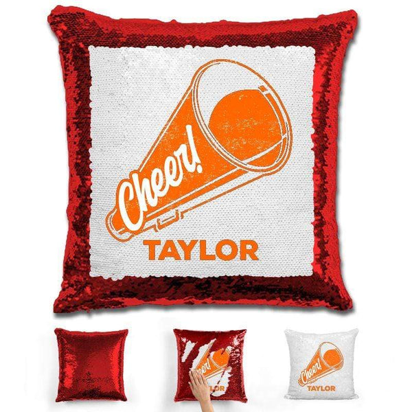 Cheerleader Personalized Magic Sequin Pillow Pillow GLAM Red Orange