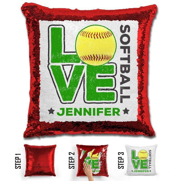 Personalized LOVE Softball Magic Sequin Pillow Pillow GLAM Red Green
