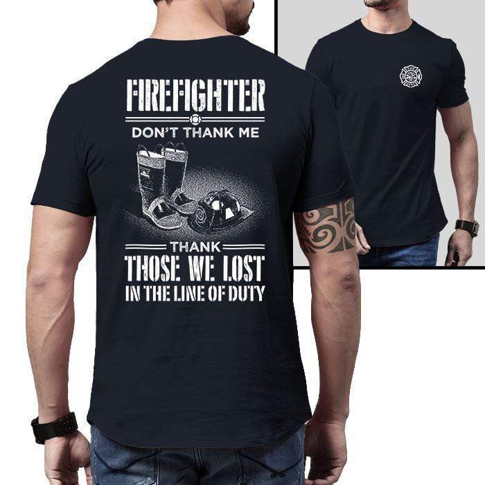 Firefighter Thank Our Fallen Heroes Premium Tee T-Shirts CustomCat Midnight Navy X-Small