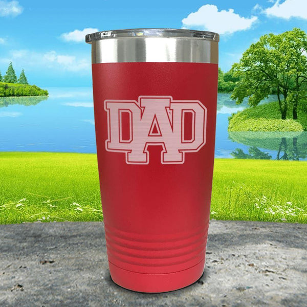 Dad Engraved Tumbler Tumbler ZLAZER 20oz Tumbler Red