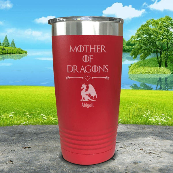 Mother Of Dragons (CUSTOM) With Child's Name Engraved Tumblers Tumbler ZLAZER 20oz Tumbler Red