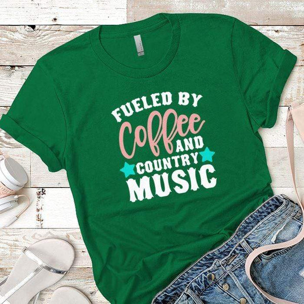 Fueled By Coffee 2 Premium Tees T-Shirts CustomCat Kelly Green X-Small