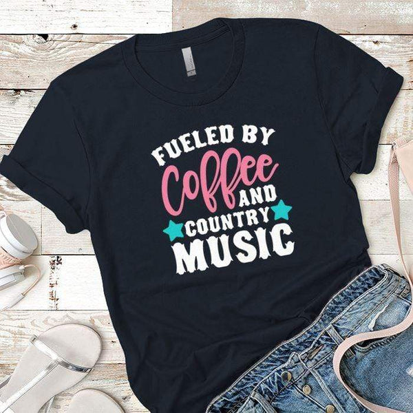Fueled By Coffee 2 Premium Tees T-Shirts CustomCat Midnight Navy X-Small