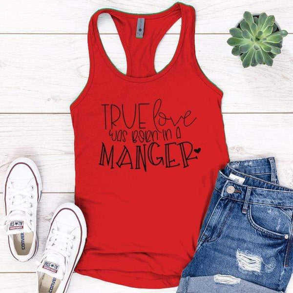 Born In A Manger Premium Tank Tops Apparel Edge Red S
