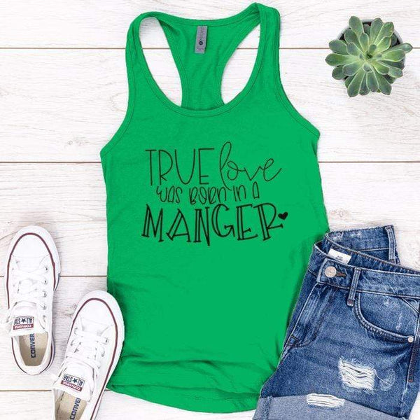 Born In A Manger Premium Tank Tops Apparel Edge Kelly Green S