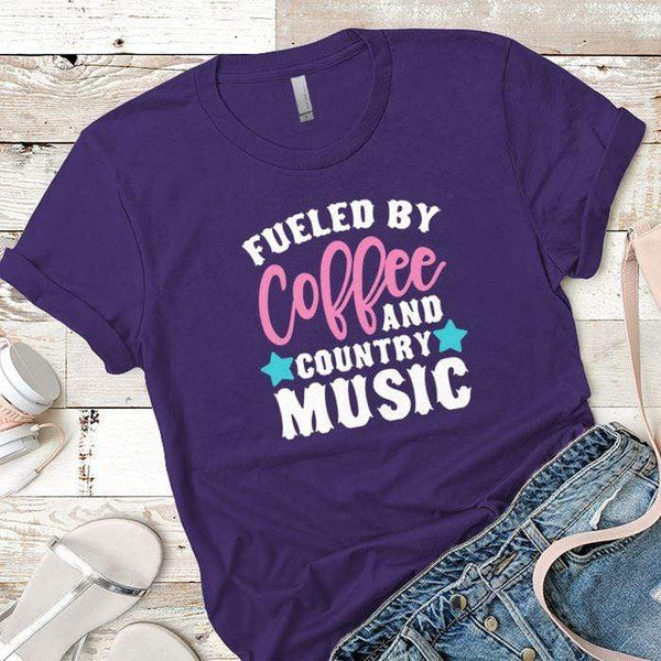Fueled By Coffee 2 Premium Tees T-Shirts CustomCat Purple Rush/ X-Small