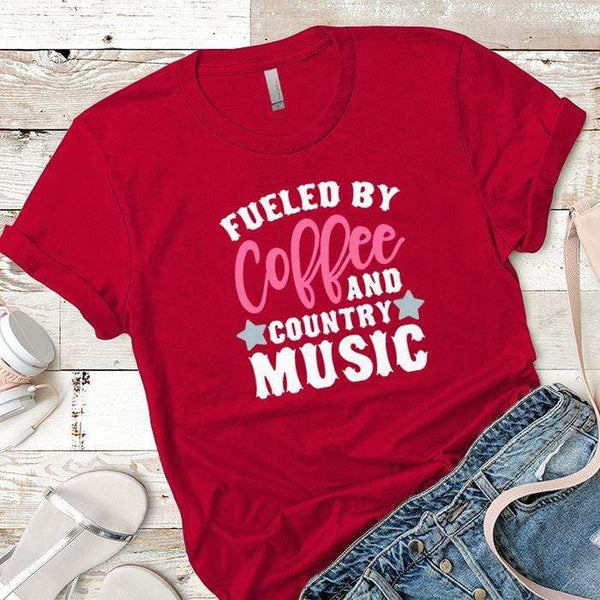 Fueled By Coffee 2 Premium Tees T-Shirts CustomCat Red X-Small