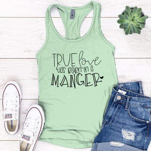 Born In A Manger Premium Tank Tops Apparel Edge Minty S