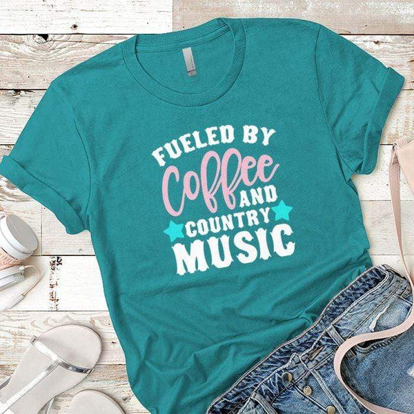Fueled By Coffee 2 Premium Tees T-Shirts CustomCat Tahiti Blue X-Small