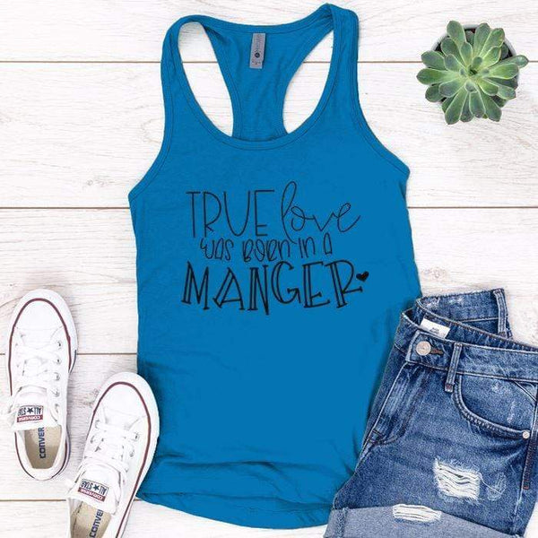 Born In A Manger Premium Tank Tops Apparel Edge Turquoise S