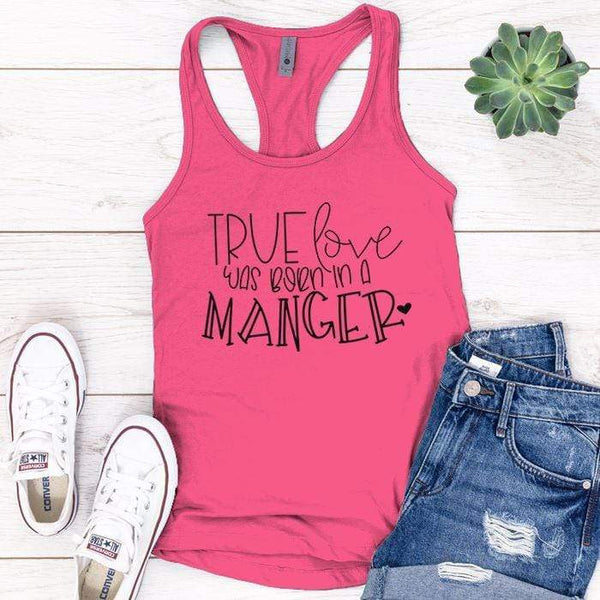 Born In A Manger Premium Tank Tops Apparel Edge Pink S
