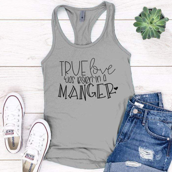 Born In A Manger Premium Tank Tops Apparel Edge Heather Grey S