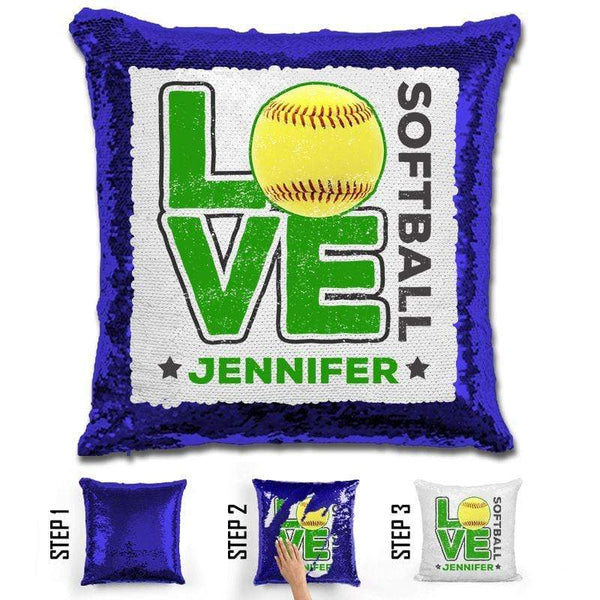 Personalized LOVE Softball Magic Sequin Pillow Pillow GLAM Blue Green