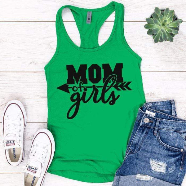 Mom Of The Girls Premium Tank Tops Apparel Edge Kelly Green S