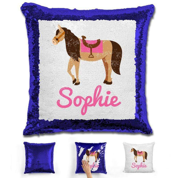 Horse Personalized Magic Sequin Pillow Pillow GLAM Blue