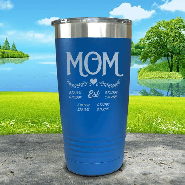 Mom Est (CUSTOM) Engraved Tumblers Tumbler ZLAZER 20oz Tumbler Blue