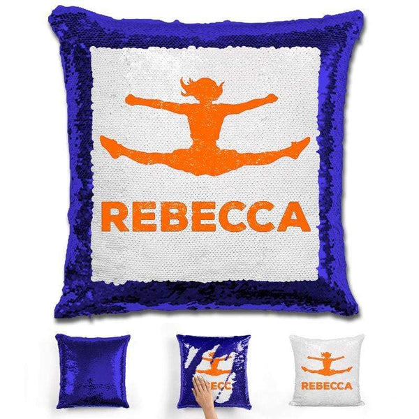 Competitive Cheerleader Personalized Magic Sequin Pillow Pillow GLAM Blue Orange