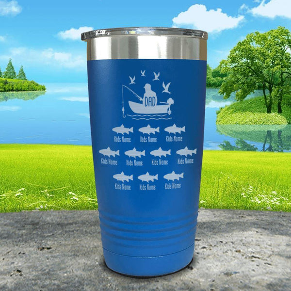 Fishing Dad (CUSTOM) With Child's Name Engraved Tumblers Tumbler ZLAZER 20oz Tumbler Blue