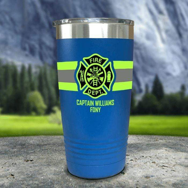 Personalized Firefighter FULL Wrap Color Printed Tumblers Tumbler Nocturnal Coatings 20oz Tumbler Blue