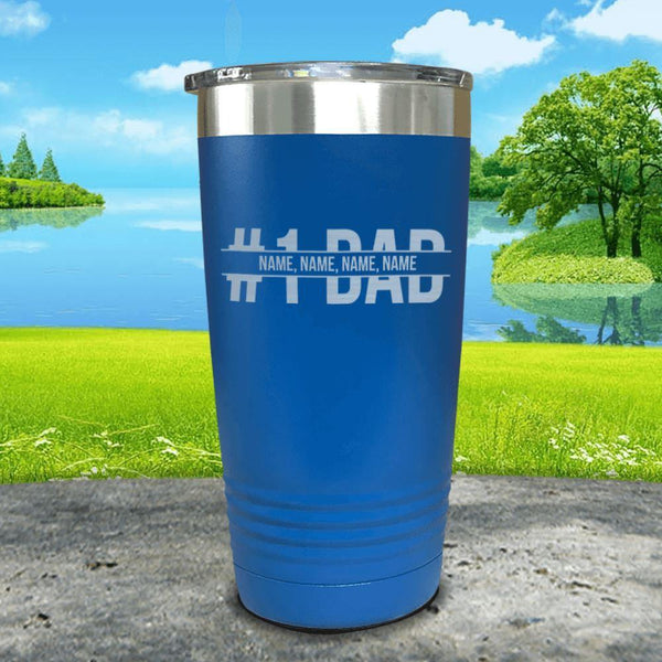 #1 Dad (CUSTOM) With Child's Name Engraved Tumbler Tumbler ZLAZER 20oz Tumbler Blue