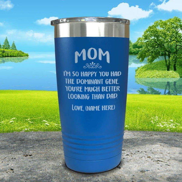 Mom Dominant Gene (CUSTOM) With Child's Name Engraved Tumbler Tumbler ZLAZER 20oz Tumbler Blue