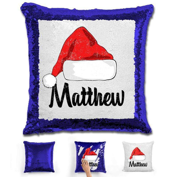 Personalized Santa Claus Hat Christmas Magic Sequin Pillow Pillow GLAM Blue