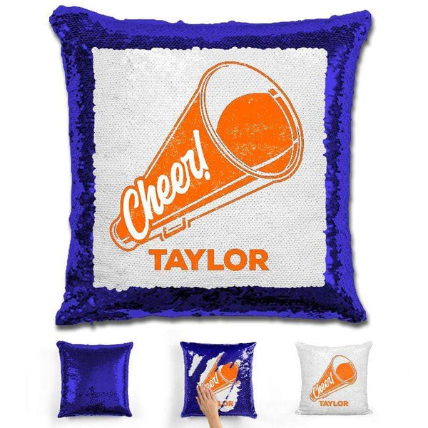 Cheerleader Personalized Magic Sequin Pillow Pillow GLAM Blue Orange