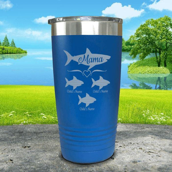 Mama Shark (CUSTOM) With Child's Name Engraved Tumblers Tumbler Southland 20oz Tumbler Blue