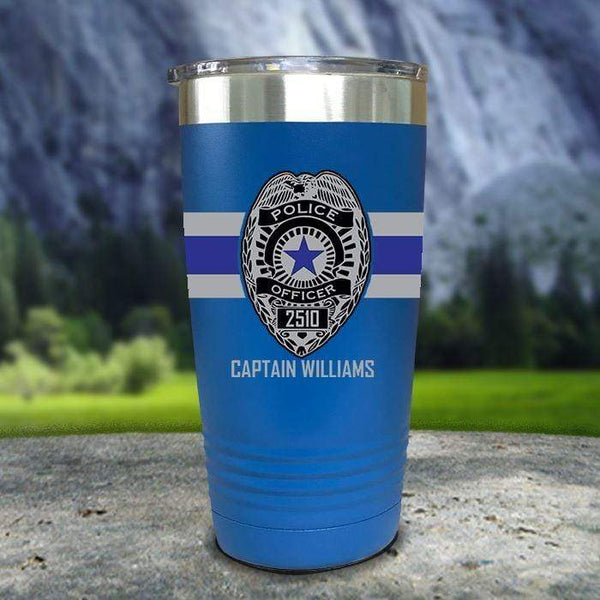 Personalized Police FULL Wrap Color Printed Tumblers Tumbler Nocturnal Coatings 20oz Tumbler Blue