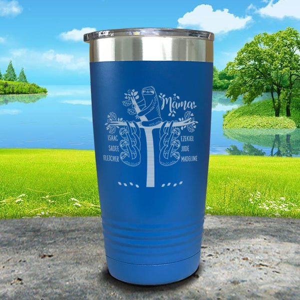 Sloth Mama (CUSTOM) With Child's Name Engraved Tumblers Tumbler ZLAZER 20oz Tumbler Lemon Blue