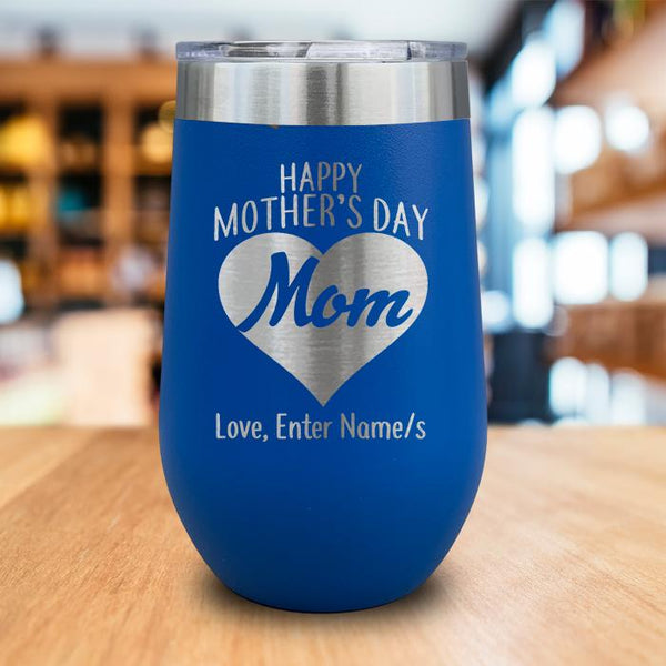 Personalized Happy Mother's Day Heart Engraved Wine Tumbler