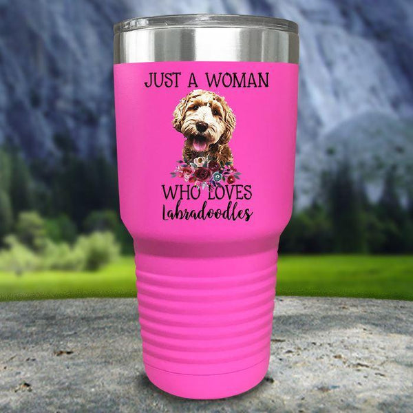 A Woman Who Loves Labradoodles Color Printed Tumblers Tumbler Nocturnal Coatings 30oz Tumbler Pink
