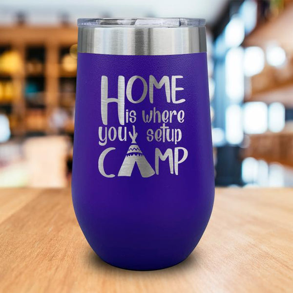 Home Is Where You Camp Engraved Wine Tumbler