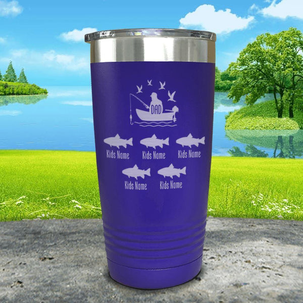 Fishing Dad (CUSTOM) With Child's Name Engraved Tumblers Tumbler ZLAZER 20oz Tumbler Royal Purple
