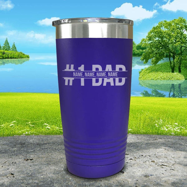 #1 Dad (CUSTOM) With Child's Name Engraved Tumbler Tumbler ZLAZER 20oz Tumbler Royal Purple