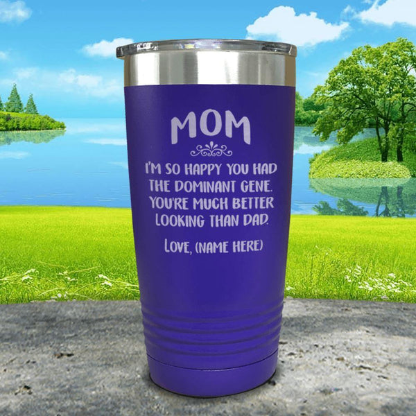 Mom Dominant Gene (CUSTOM) With Child's Name Engraved Tumbler Tumbler ZLAZER 20oz Tumbler Royal Purple