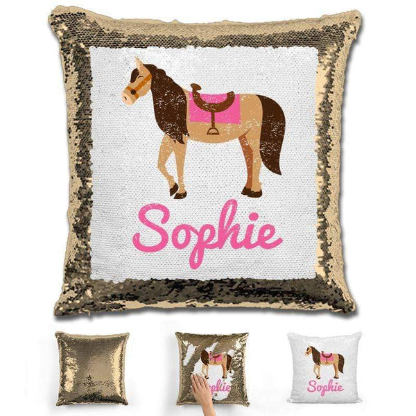Horse Personalized Magic Sequin Pillow Pillow GLAM Gold