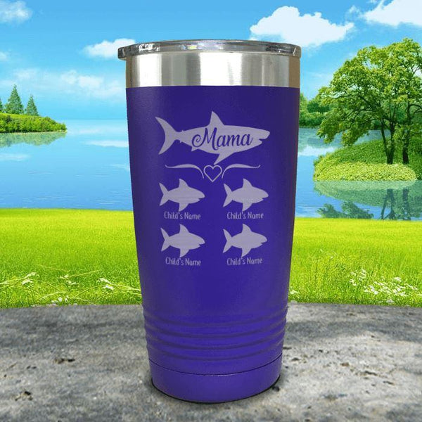 Mama Shark (CUSTOM) With Child's Name Engraved Tumblers Tumbler Southland 20oz Tumbler Royal Purple