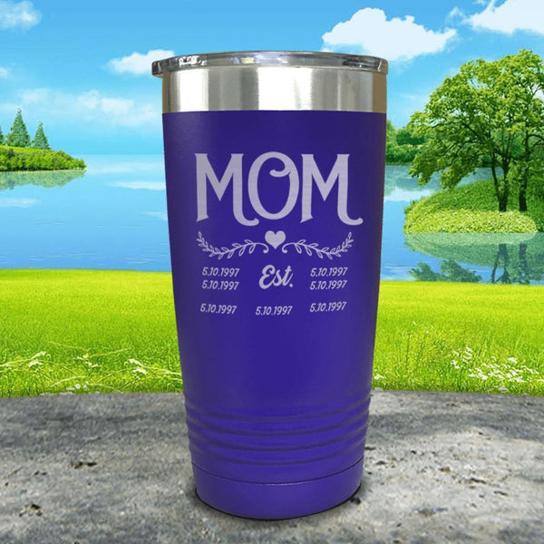 Mom Est (CUSTOM) Engraved Tumblers Tumbler ZLAZER 20oz Tumbler Royal Purple
