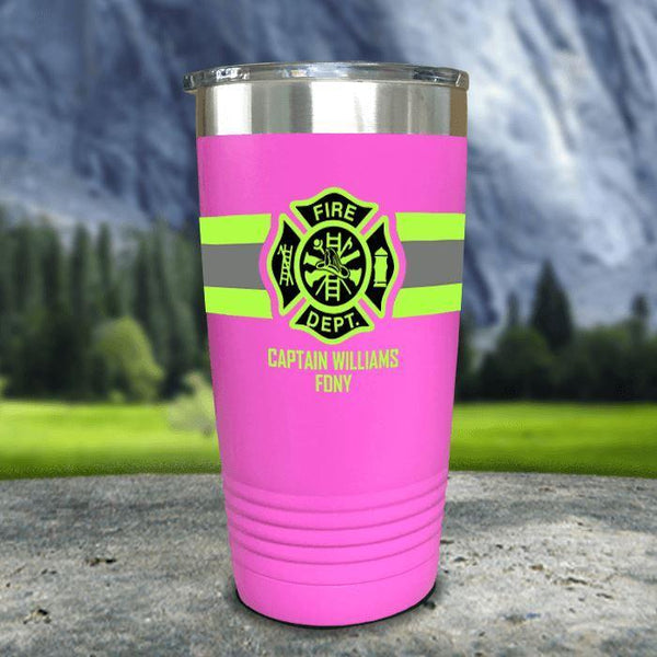 Personalized Firefighter FULL Wrap Color Printed Tumblers Tumbler Nocturnal Coatings 20oz Tumbler Pink