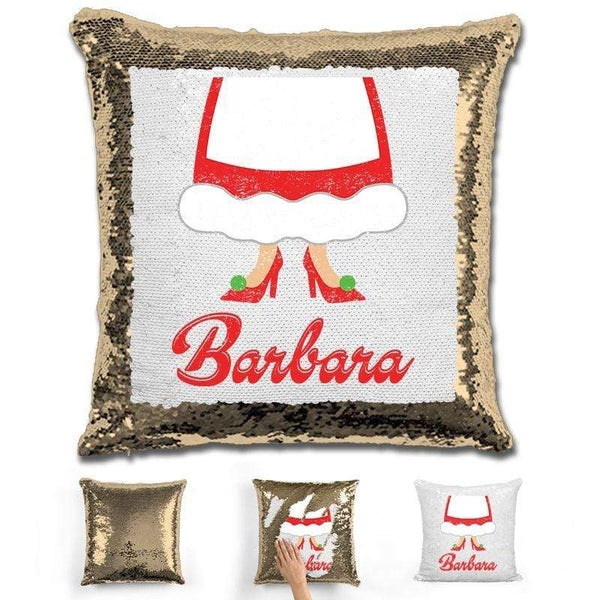 Personalized Mrs. Claus Christmas Magic Sequin Pillow Pillow GLAM Gold