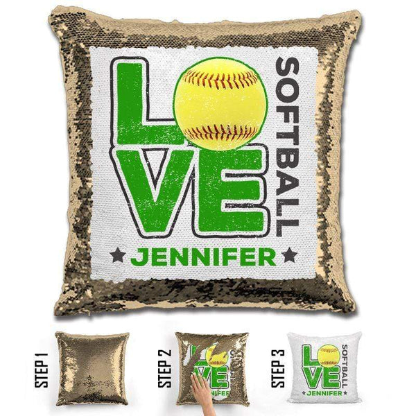 Personalized LOVE Softball Magic Sequin Pillow Pillow GLAM Gold Green