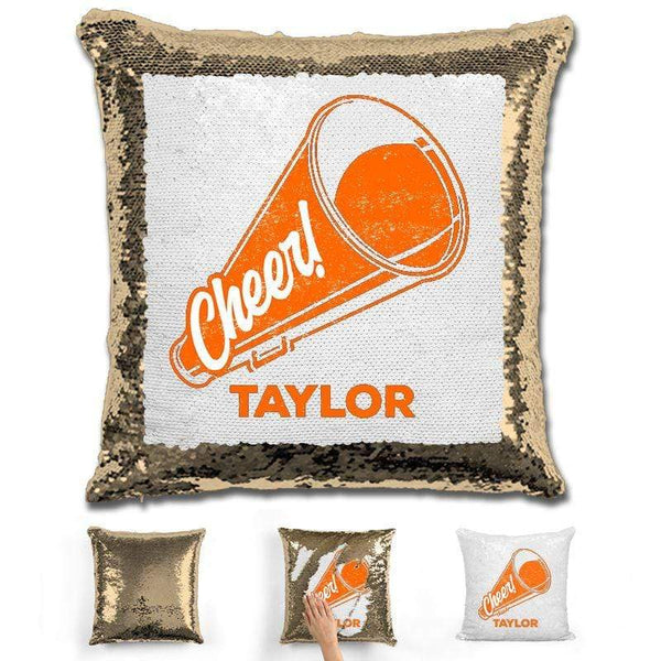 Cheerleader Personalized Magic Sequin Pillow Pillow GLAM Gold Orange