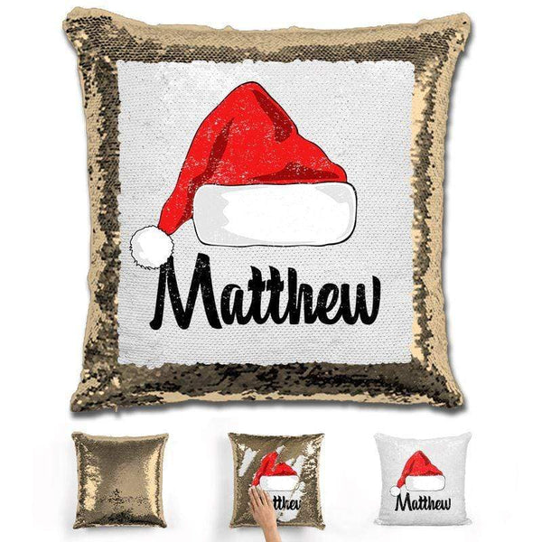 Personalized Santa Claus Hat Christmas Magic Sequin Pillow Pillow GLAM Gold