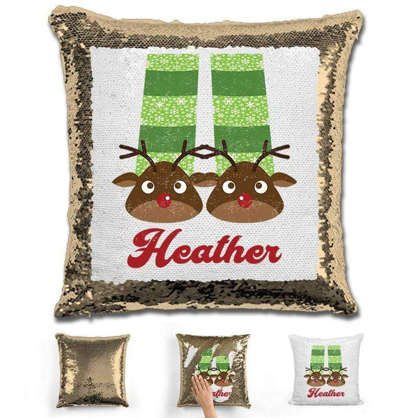 Personalized Slippers And Pajamas Christmas Magic Sequin Pillow Pillow GLAM Gold