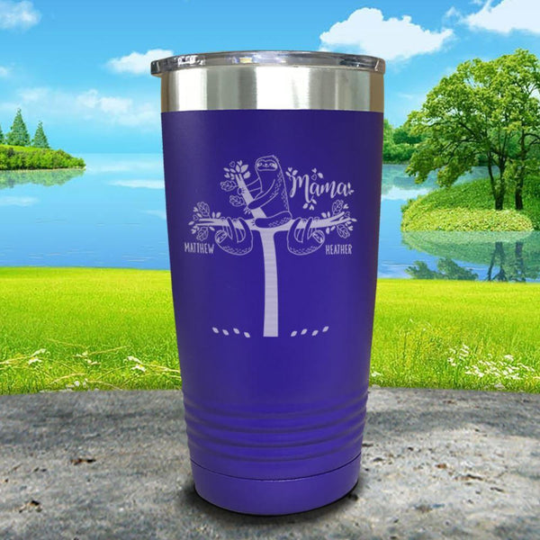 Sloth Mama (CUSTOM) With Child's Name Engraved Tumblers Tumbler ZLAZER 20oz Tumbler Royal Purple