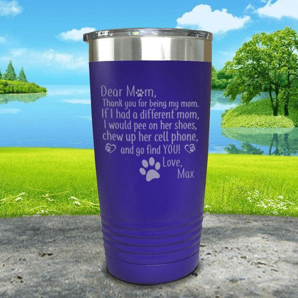 PERSONALIZED Dear Dog Mom Love Your Dog Engraved Tumbler Tumbler ZLAZER 20oz Tumbler Royal Purple