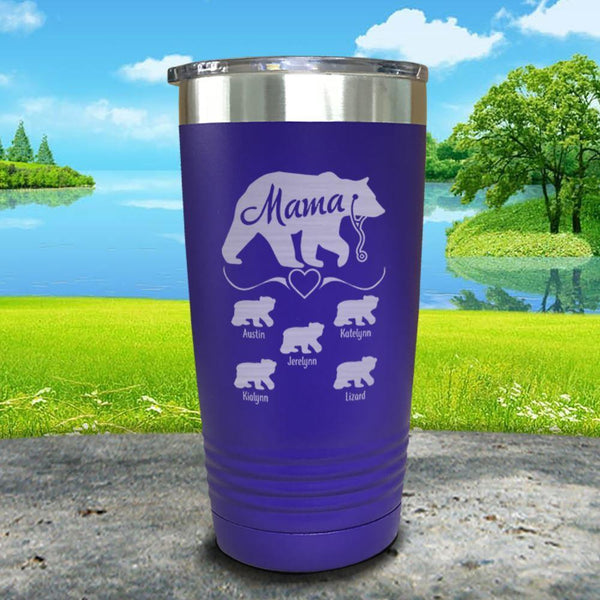 Mama Bear Nurse (CUSTOM) With Child's Name Engraved Tumblers Tumbler ZLAZER 20oz Tumbler Royal Purple