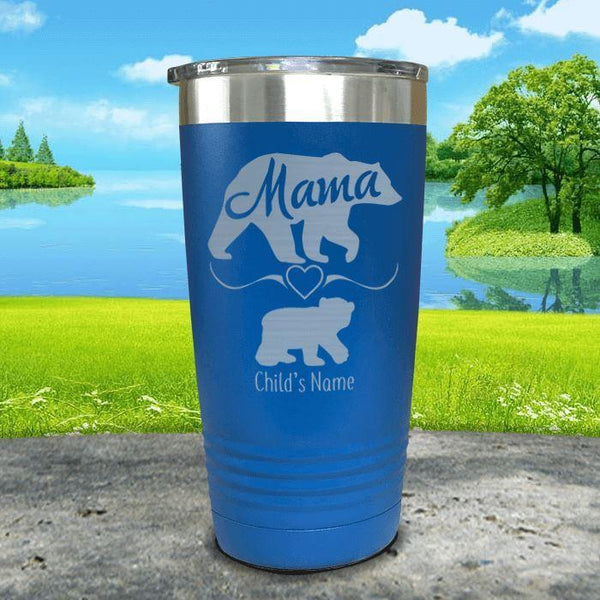 Mama Bear (CUSTOM) With Child's Name Engraved Tumblers Tumbler ZLAZER 20oz Tumbler Blue
