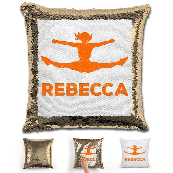Competitive Cheerleader Personalized Magic Sequin Pillow Pillow GLAM Gold Orange